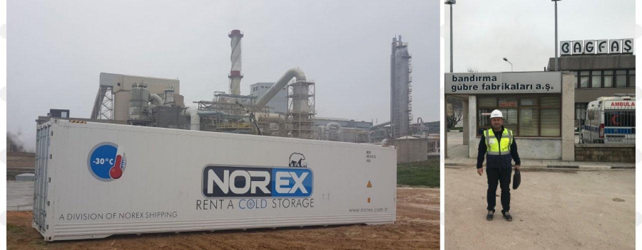 Bandırma Gübre Fabrikaları Asit Tanklarının Revizyonunda Kullanılacak Kauçuk Kapalama Malzemelerinin + 4 C de muhafazası için Norex Mobil Soğuk Hava Depo Konteynerini kiraladı.